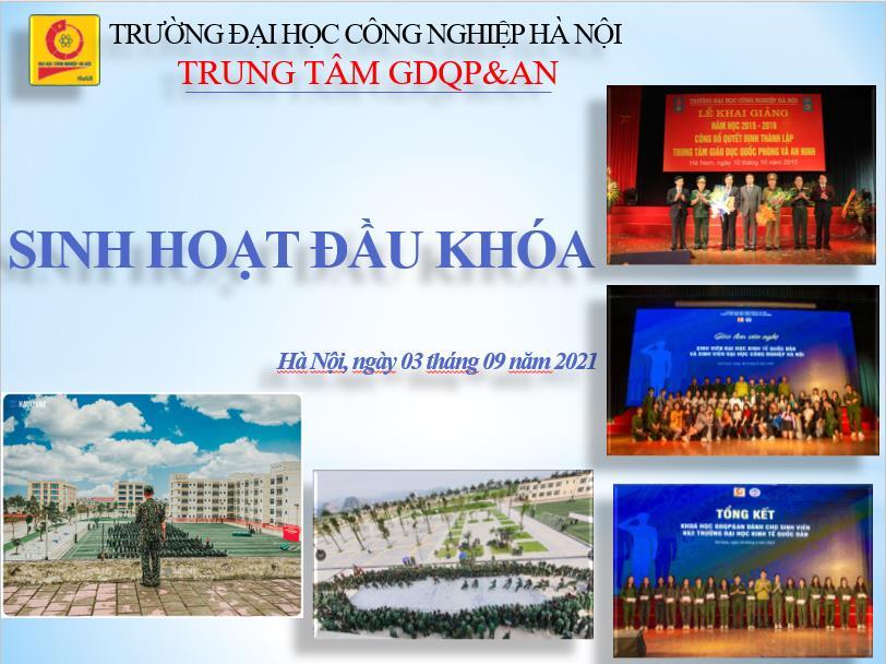 Kế hoạch tổ chức sinh hoạt đầu khóa cho sinh viên Trường Đại học Kinh tế Quốc dân học GDQP&AN (Đợt 1, năm học 2021-2022)
